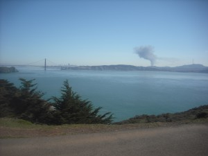 Looking back to San Francisco from the trailhead to the Point Bonita lighthouse, February 24.