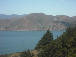 The Marin Headlands, as seen from the Immigration Point Overlook in San Francisco's Presidio.