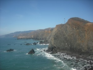 The Marin Headlands, as seen looking north from the Point Bonita Lighthouse.