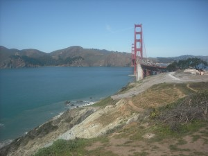The view of the Golden Gate Bridge from the Pacific Overlook.
