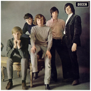 Like the Rolling Stones' first UK album (also on Decca), Them's first album, The Angry Young Them, didn't put either the band name or the title on the front cover.