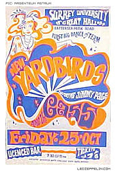 "Poster for a show  Led Zeppelin played under the name ""The New Yardbirds featuring Jimmy Page,"" at  the University of Surrey on October 25, 1968."