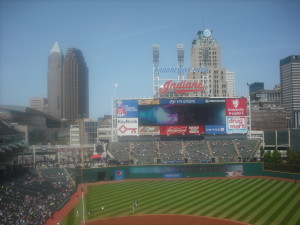 Progressive Field, with downtown Cleveland in the background, May 18, 2014.