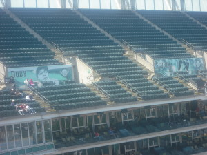 Left field seats at Progressive Field aren't sold out these days, like they were in the old days.