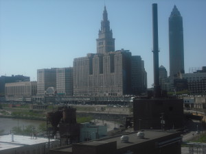 Terminal Tower (the leftmost of the two tall buildings here) dominates this view of downtown Cleveland.