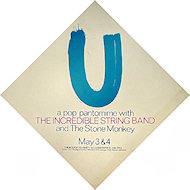 Poster for the Incredible String Band's live performance of U, which they attempted only a few times before lack of money and audience enthusiasm put an end to the enterprise.