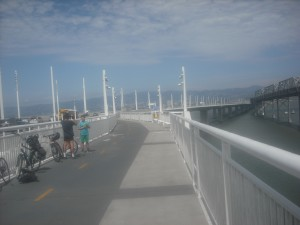 The family-friendly Bay Bridge bike/pedestrian path. Baby strollers and dogs are not uncommon sights either.