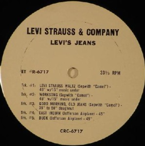 This rare disc includes not only a couple Jefferson Airplane Levi's commercials, but a couple done for the same company by a much more obscure San Francisco group, the Sopwith Camel.