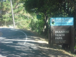 The entrance to Paradise Beach Park.