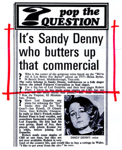 Sandy Denny exposed in Melody Maker article.