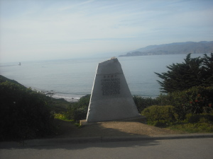The monument honoring the fishermen after whom China Beach was named, just inside the entrance.