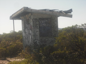 Abandoned shed in the Nike missile site on Sweeney Ridge Trail.