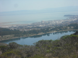 Small lake and San Francisco Bay, viewed to the trail's east