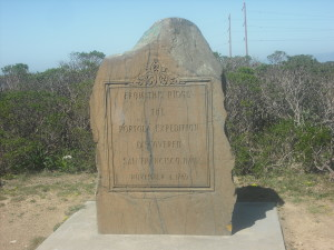 "The inscription on this monument reads: ""From this ridge the Portola Exhibition discovered San Francisco Bay November 4, 1969"""