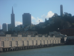 The view of Russian Hill, with Coit Tower to the right, as the boat pulls out of Fisherman's Wharf on the way to Alcatraz.