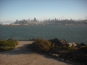 The San Francisco skyline, as seen from Alcatraz Island.
