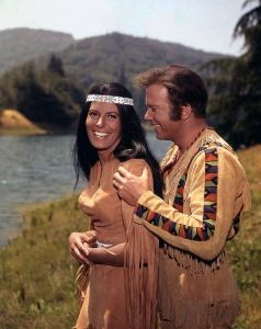 "Sabrina Scharf with William Shatner in the Star Trek episode ""The Paradise Syndrome."""