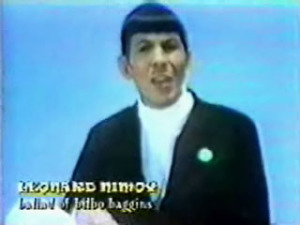 "Leonard Nimoy sings ""The Ballad of Bilbo Baggins"" on TV, late 1960s."