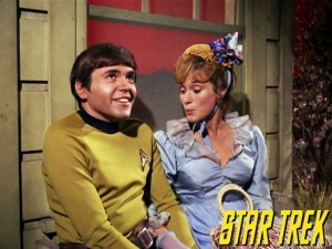"Bonnie Beecher with Ensign Chekov (played by Walter Koenig) in the Star Trek episode ""The Spectre of the Gun."""