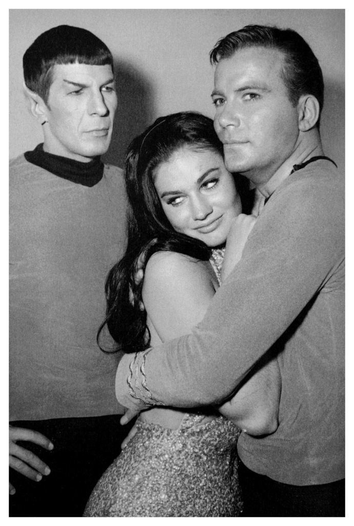 Maggie Thrett with Spock and Captain Kirk on the set of Mudd's Women.