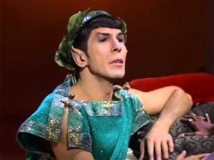 "Spock sings ""Maiden Wine"" in the ""Plato's Stepchildren"" episode."