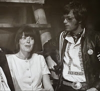 "Sabrina Scharf with Peter Fonda in one of the commune scenes in ""Easy Rider."""