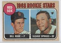 Although Bill Rohr got a 1968 Red Sox rookie card (still being a few innings short of losing his rookie status), he didn't pitch for the Red Sox in 1968 or any year after that, though he appeared in some games for the Indians in 1968.