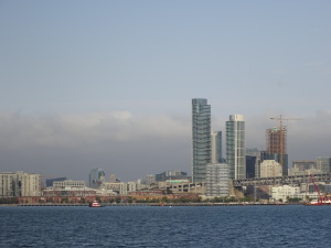 Views of the San Francisco skyline as you leave the city on the ferry to Bay Farm Island.