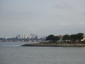 Bay Farm Island, with the San Francisco skyline in the background.