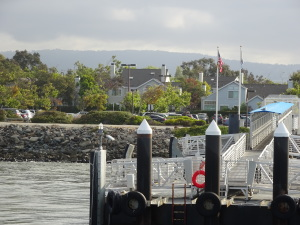 View from the ferry as you dock at Bay Farm Island.
