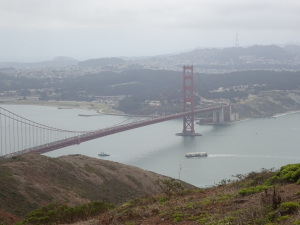 View of the Golden Gate Bridge from Slacker Ridge, on the trail from the bridge to Rodeo Beach.