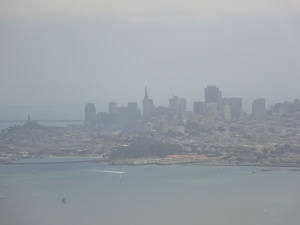 Hazy San Francisco skyline, as viewed from Slacker Ridge.