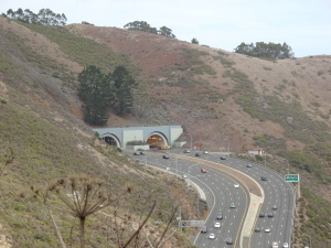 Tunnel just north of the bridge on Highway 101, as viewed from the trail just before you turn inland and the roar of the traffic disappears.