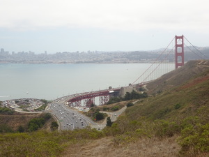 Unusual view of the ramp to the Golden Gate Bridge from the northern end, near the beginning of the trail.
