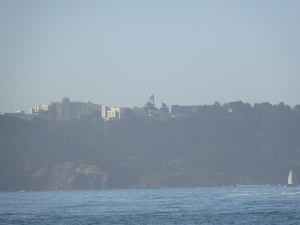 You can see the Land's End trail of San Francisco from the beach, overlooked by the V.A. Hospital.