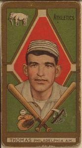 Ira Thomas, in the days when some baseball cards didn't even have the players' first names.