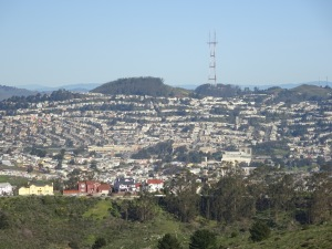Southern San Francisco neighborhoods, as seen from San Bruno Mountain. You can just about see the tops of a couple spans of the Golden Gate Bridge on the far left.