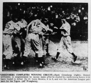 Hank Greenberg crosses the plate after his pennant-winning grand slam in 1945.