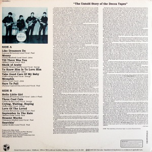 The back cover of the first bootleg to feature all 15 songs from the Beatles' Decca audition had fictional liner notes recapping what might have happened had the Beatles signed to Decca and released material on the label.