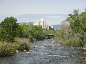 Reno, viewed from a bridge just east of downtown.