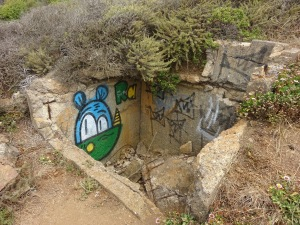 Strange graffiti on strange shelter-like pit on the trail.