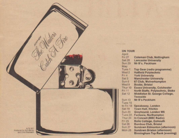 Itinerary for the Wailers' first proper UK tour in 1973.