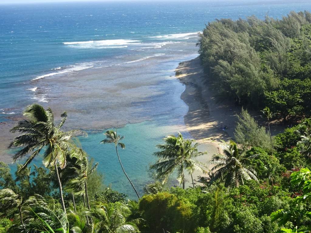 Ke'e Beach, viewed from the Kalalau Trail.