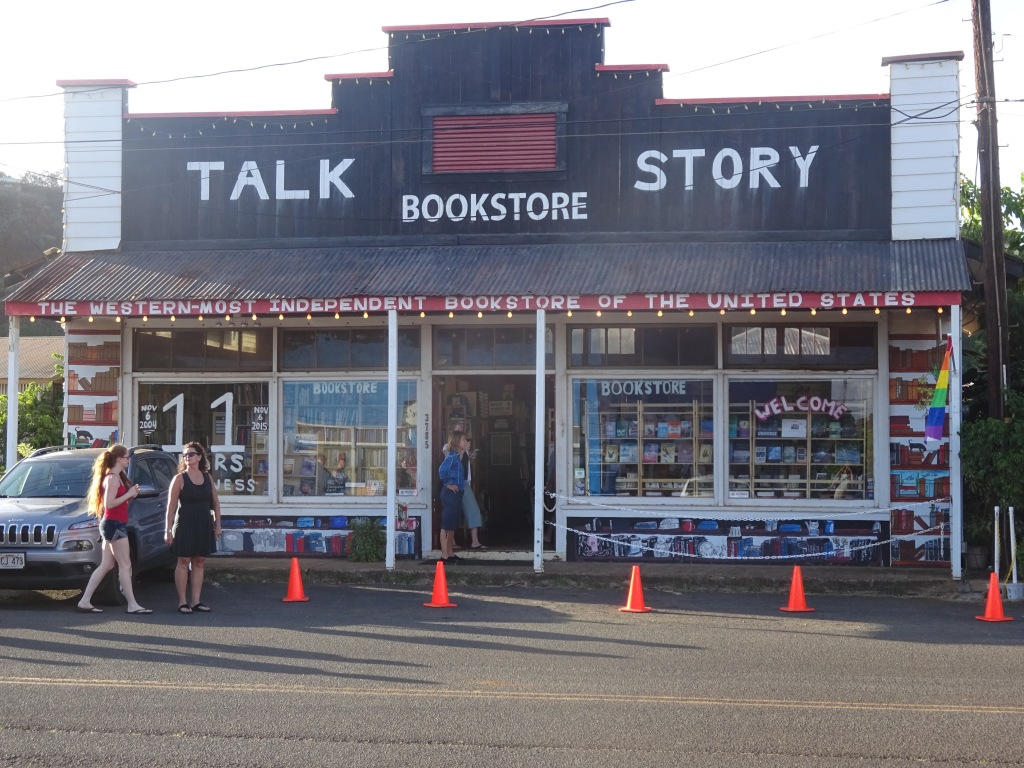 "Talk Story in Hanapepe, ""The Westernmost Independent Bookstore of the United States"" (as it proclaims on the lettering at the bottom of the awning)."