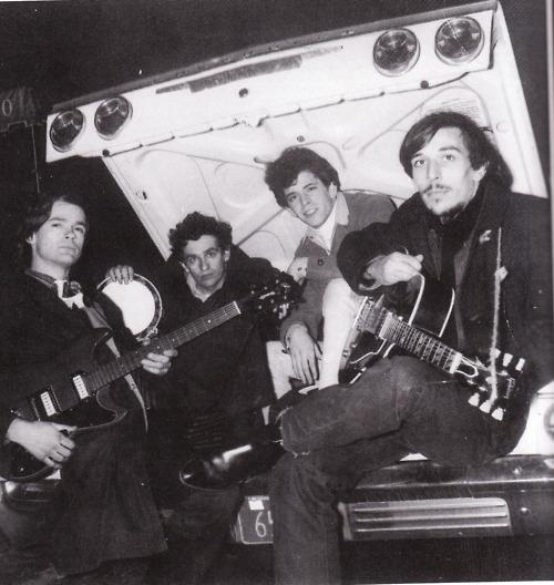 The Primitives, late 1964. Left to right: Tony Conrad, Walter De Maria, Lou Reed, and John Cale.