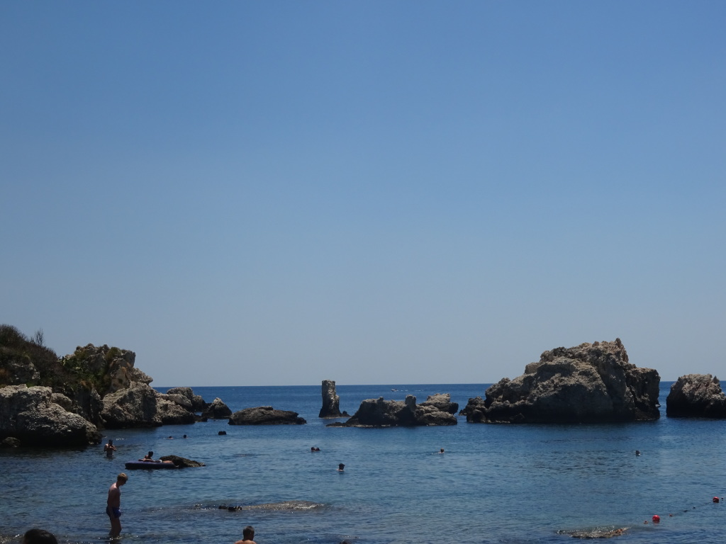 Rocks to which we swam at Isola Bella.