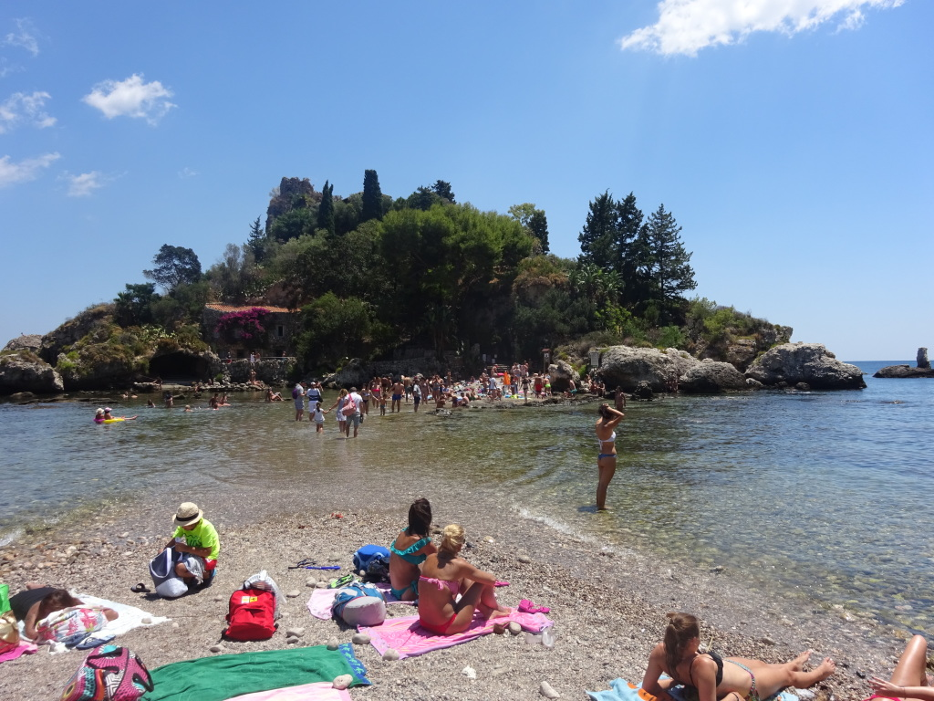 The beach at Isola Bella, near Taormina in Sicily.