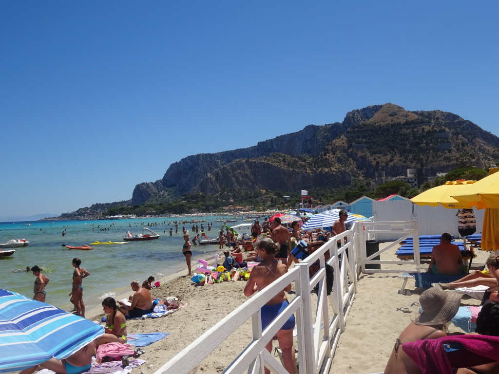 Mondello beach, looking to the east.