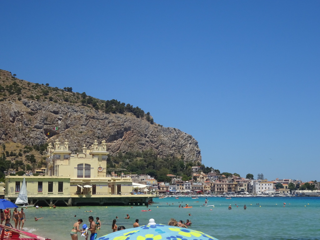 Mondello beach, looking to the west.