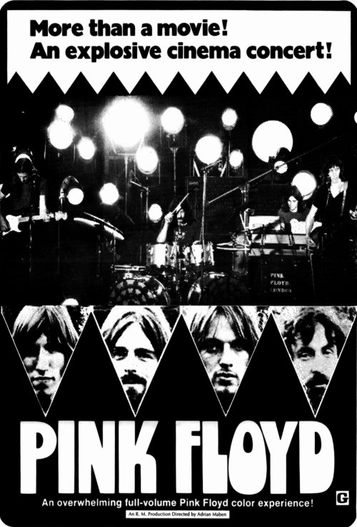 Poster for the Pink Floyd Live at Pompeii movie, early 1970s.